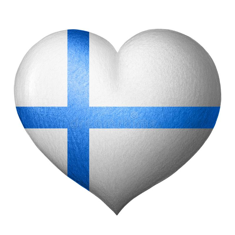 Corazón finlandés de la bandera aislado en el fondo blanco Gráfico de lápiz stock de ilustración