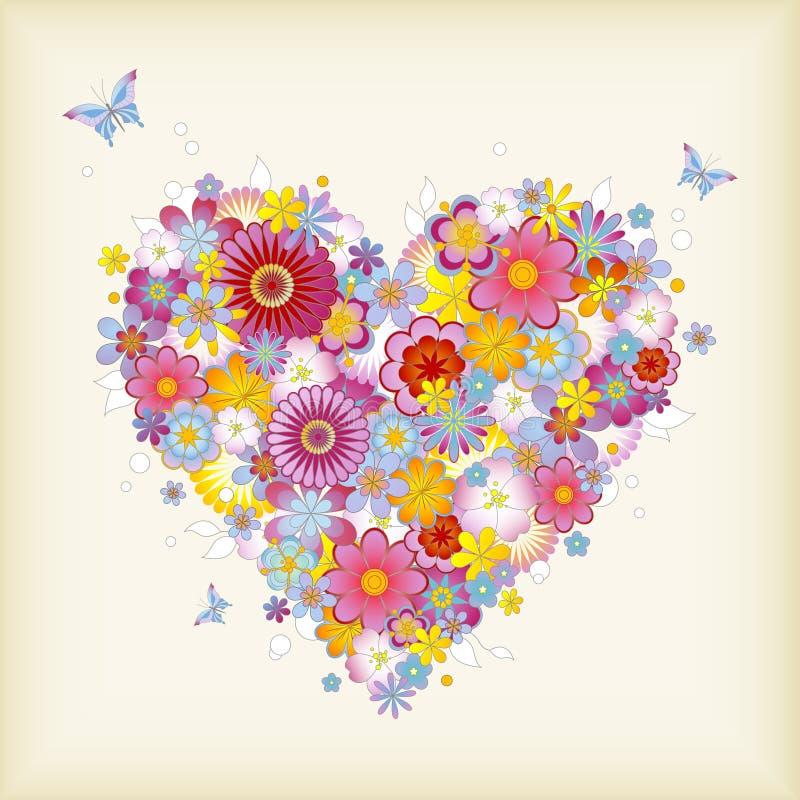 Corazón floral ilustración del vector