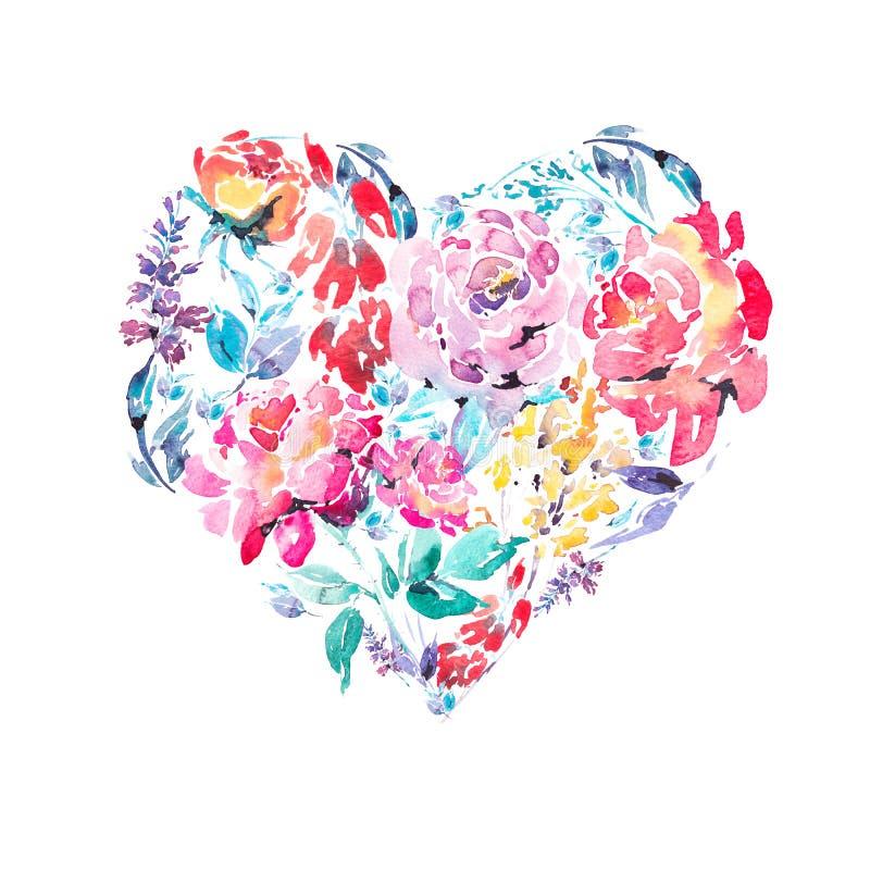 Corazón floral colorido de las rosas de la acuarela stock de ilustración
