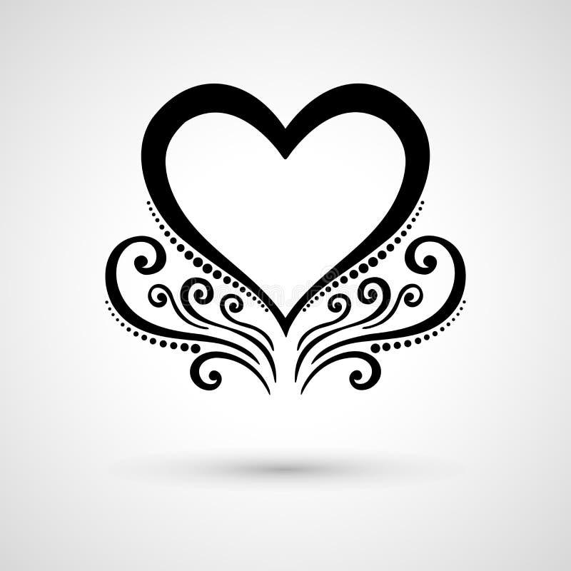 Corazón floral de Deco del vector en Gray Background ilustración del vector
