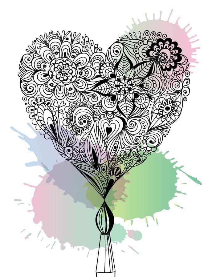 Corazón floral del garabato ilustración del vector