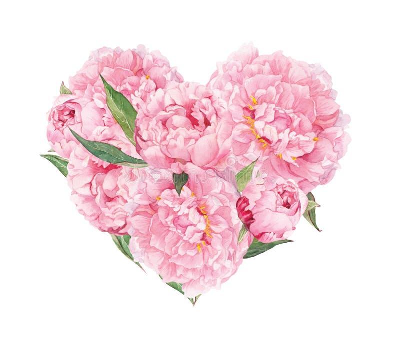 Corazón floral - flores rosadas de las peonías Acuarela para el día de San Valentín, casandose imagen de archivo libre de regalías