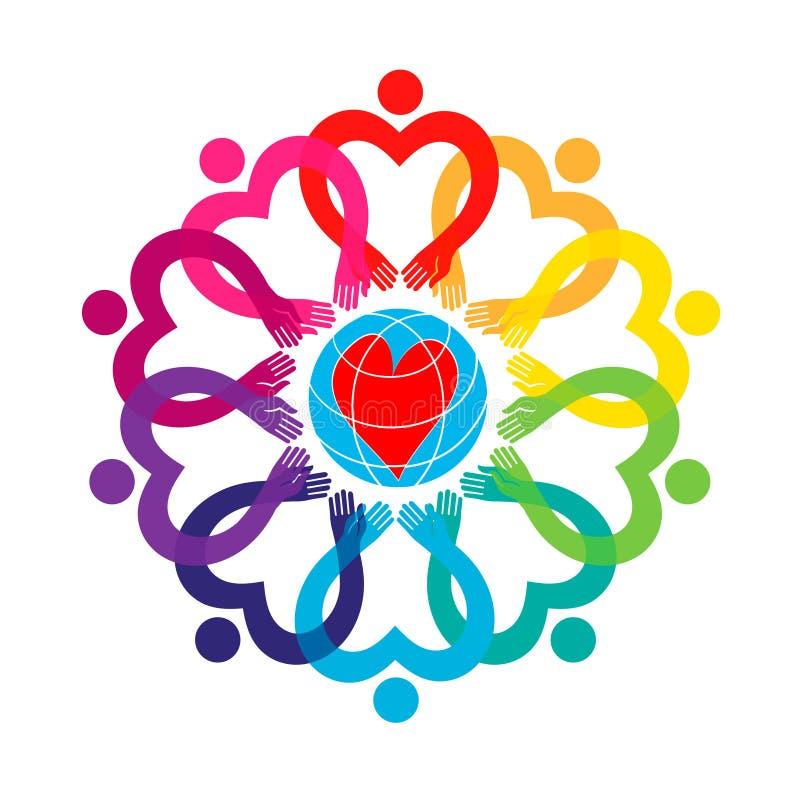 Corazón Gente en todo el mundo que lleva a cabo las manos stock de ilustración