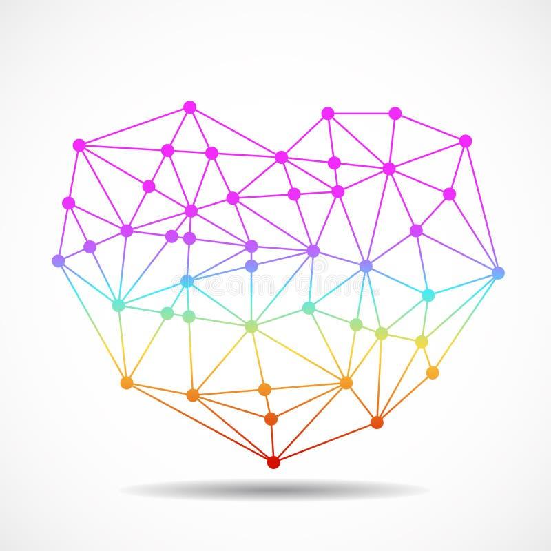 Corazón geométrico colorido del extracto de las líneas y del punto, forma poligonal libre illustration