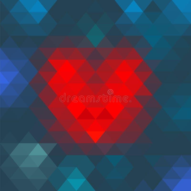 Corazón geométrico del mosaico del vector para el diseño del día de tarjetas del día de San Valentín ilustración del vector