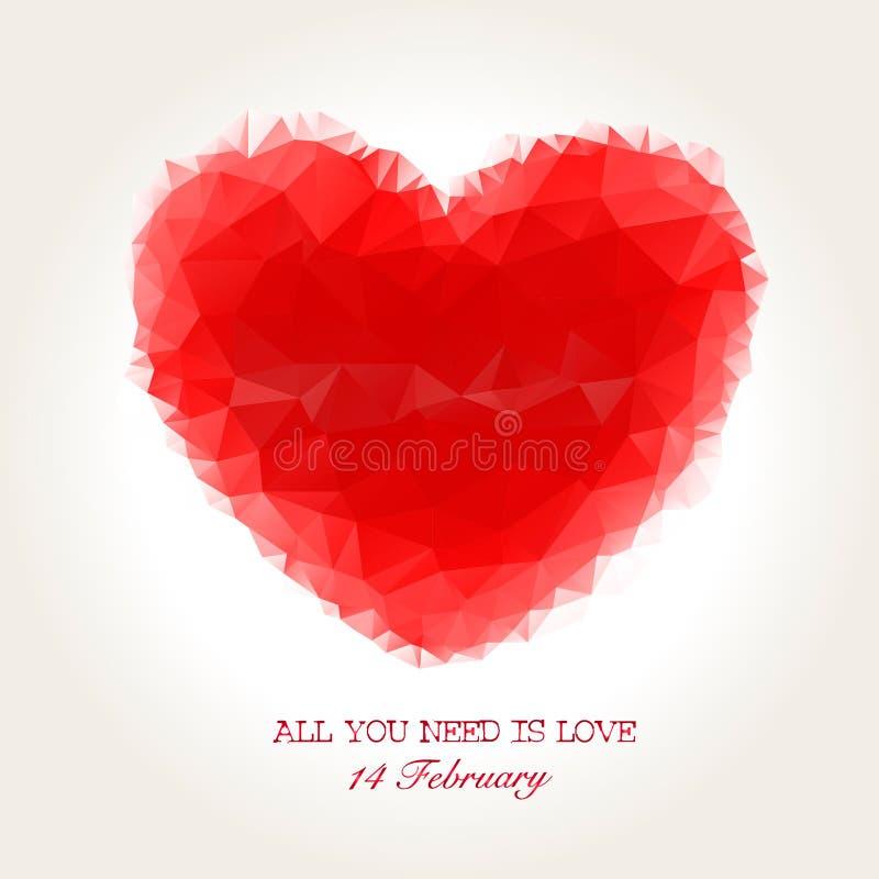 Corazón geométrico del mosaico para las tarjetas del día de San Valentín libre illustration