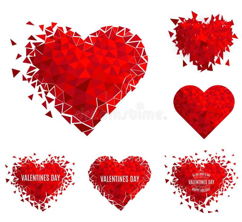 Corazón geométrico del mosaico del vector E Día del `s de la tarjeta del día de San Valentín Confeti del amor del brillo libre illustration