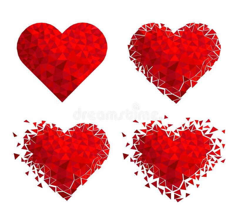 Corazón geométrico del mosaico del vector E Día del `s de la tarjeta del día de San Valentín Confeti del amor del brillo stock de ilustración
