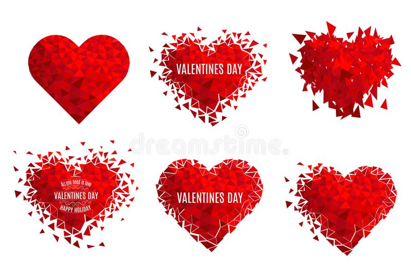 Corazón geométrico del mosaico del vector E Día del `s de la tarjeta del día de San Valentín Confeti del amor del brillo ilustración del vector