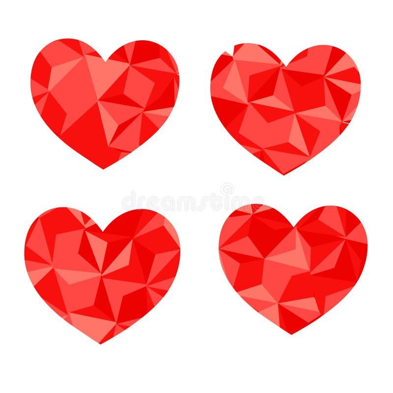 Corazón geométrico del mosaico del vector Plantilla para el diseño del día de tarjetas del día de San Valentín ilustración del vector