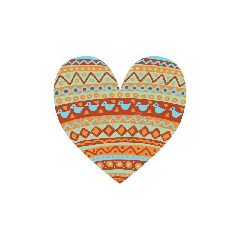 Corazón gráfico abstracto con el interior del ornamento del ethno ilustración del vector