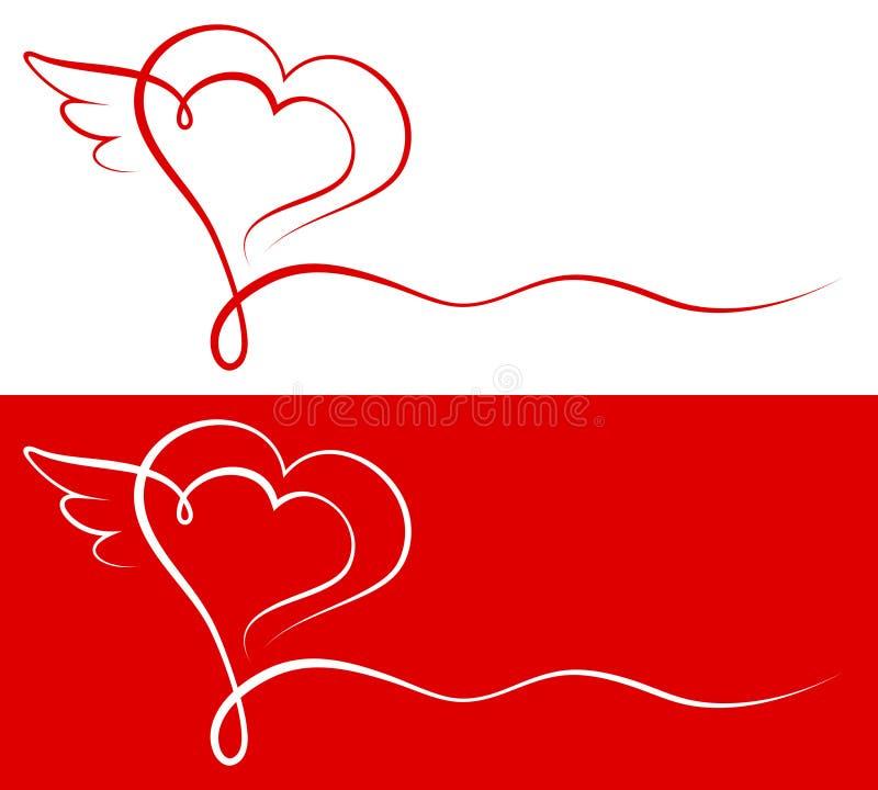 Corazón gráfico de la caligrafía con las alas rojas y blancas ilustración del vector