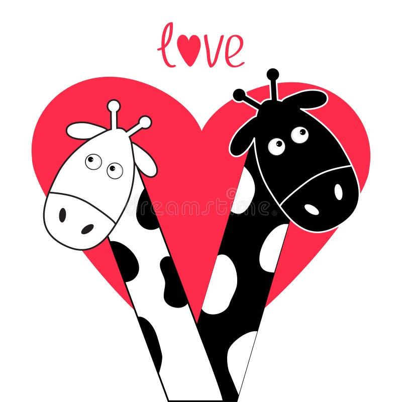 Corazón grande blanco del muchacho y de la muchacha de la jirafa del negro lindo de la historieta Pares de Camelopard el fecha Ju stock de ilustración