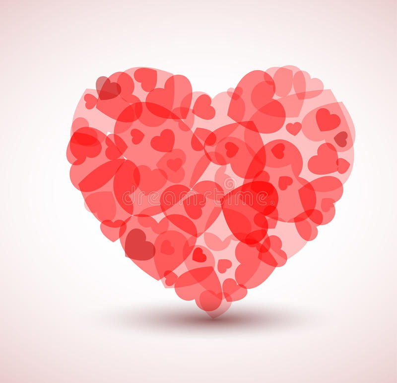 Corazón grande del vector hecho de corazones más pequeños stock de ilustración