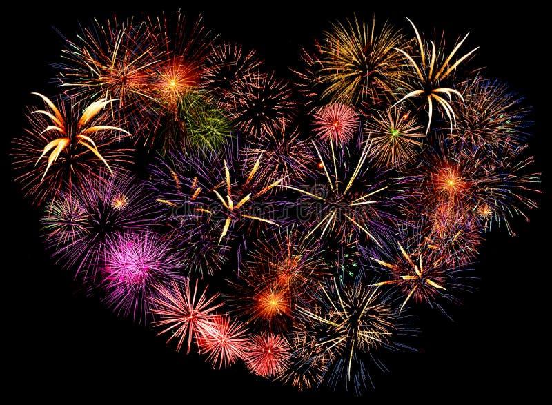 Corazón grande hermoso del fuego artificial fotografía de archivo