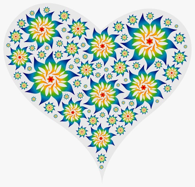 Corazón grande llenado de las mandalas ilustración del vector