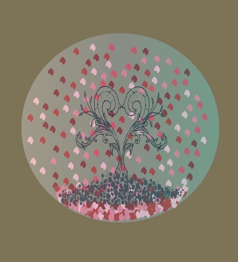 Corazón hecho con las flores Lluvia de pétalos libre illustration