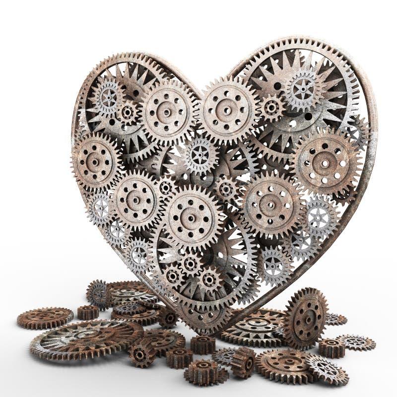 Corazón hecho de engranajes stock de ilustración