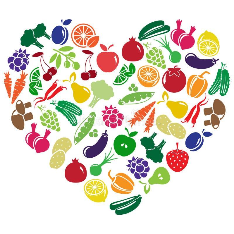 Corazón hecho de frutas y verduras fotografía de archivo