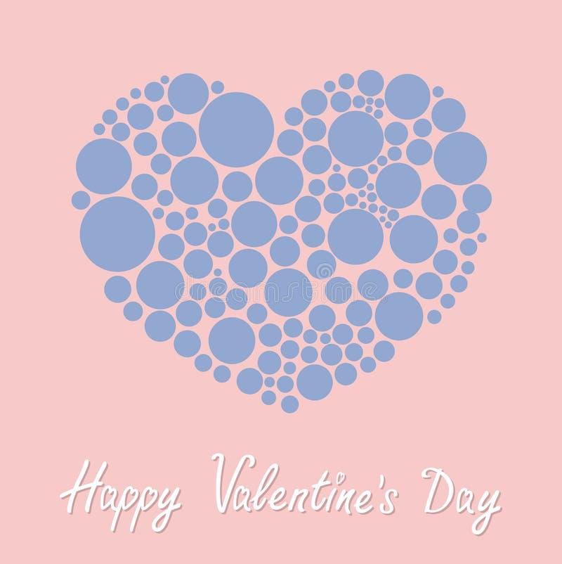 Corazón hecho a partir de día de muchas de la ronda tarjetas del día de San Valentín feliz de los puntos Ame el color plano de la libre illustration
