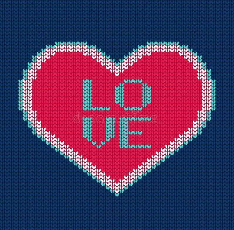 Corazón hecho punto Modelo inconsútil del vector para el suéter ilustración del vector