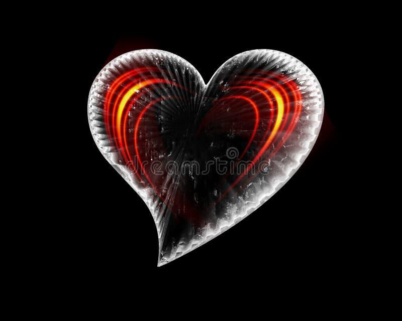 Corazón helado con las ondas ardientes stock de ilustración
