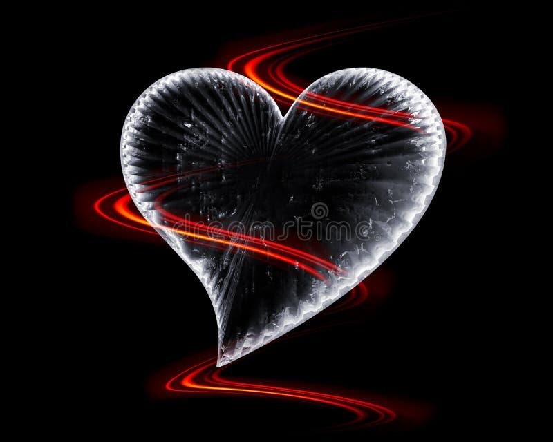 Corazón helado en la obscuridad con las ondas ardientes stock de ilustración