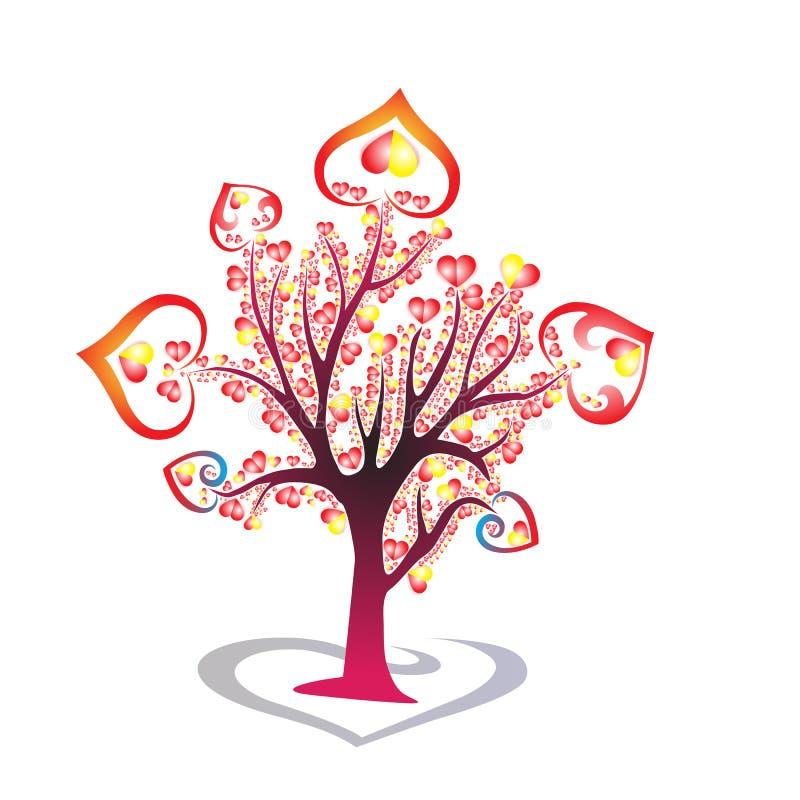 Corazón hermoso, colorido del árbol del corazón, rojo y amarillo, tre e, corazones stock de ilustración