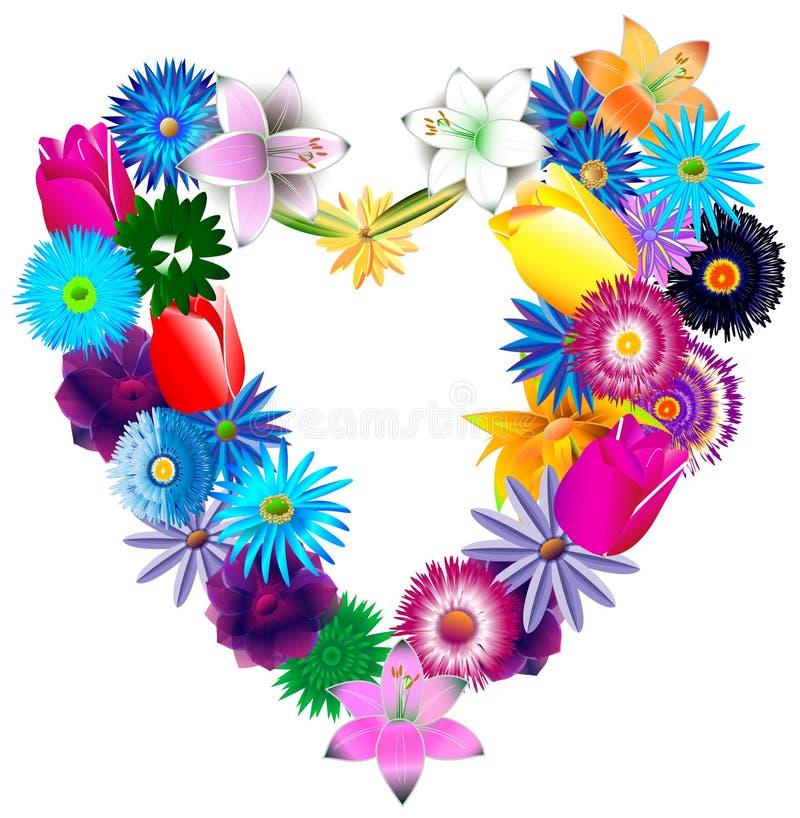 Corazón hermoso de diversos colores brillantes stock de ilustración