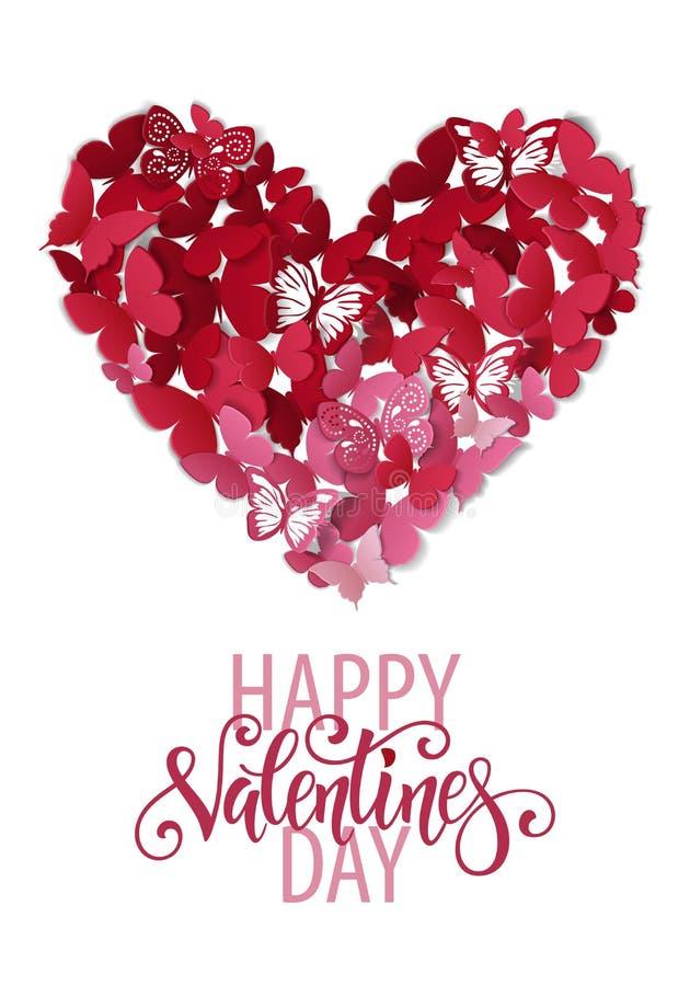 Corazón hermoso de la tarjeta del día de San Valentín Fondo de la mariposa Tarjeta de la tarjeta del día de San Valentín ilustración del vector