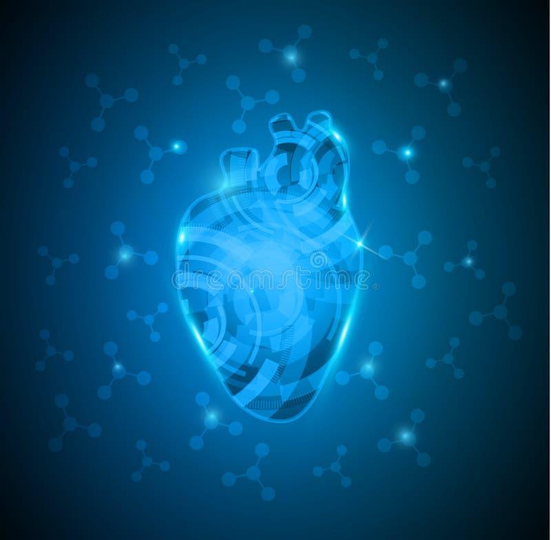 Corazón humano abstracto de engranajes stock de ilustración