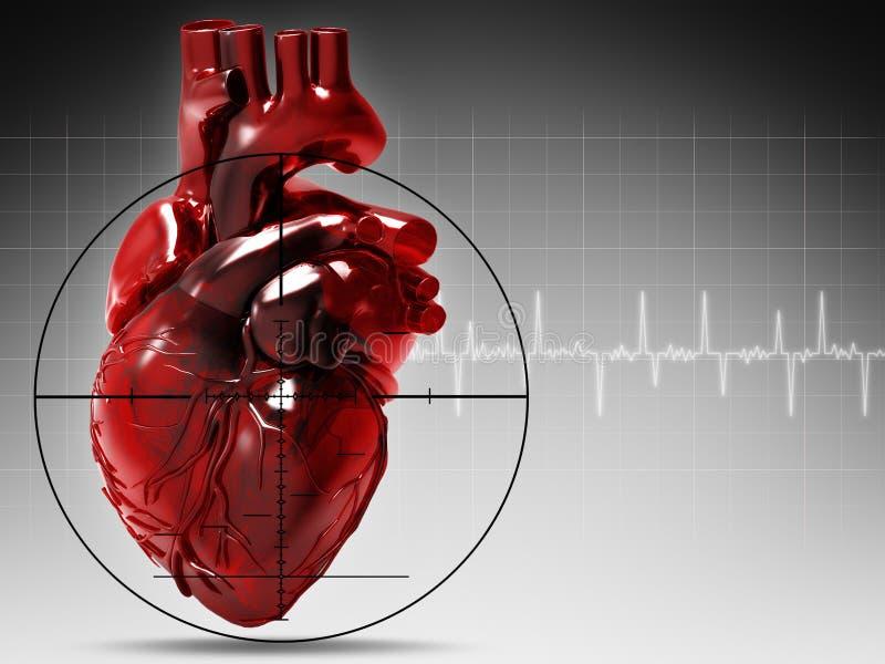 Corazón humano bajo ataque ilustración del vector