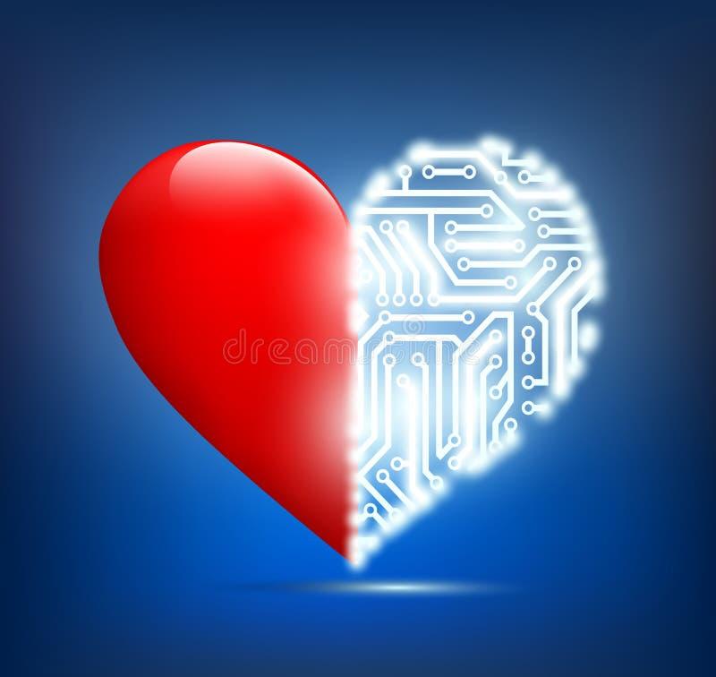 Corazón humano con la placa de circuito dentro stock de ilustración