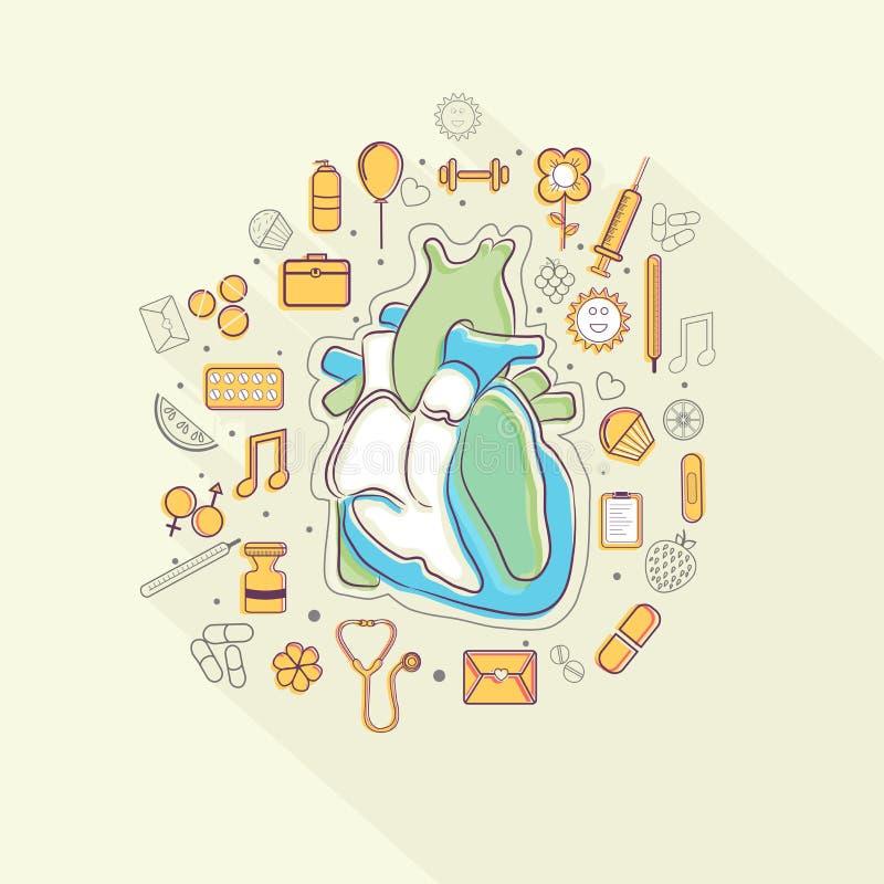 Corazón humano con los diversos elementos para la salud y el concepto médico ilustración del vector