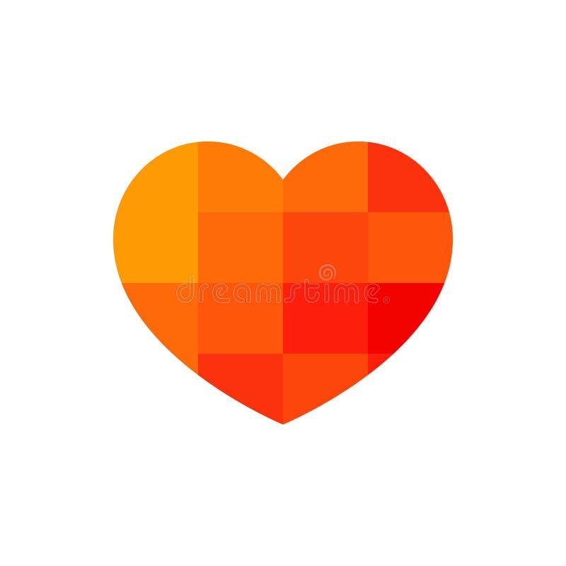 Corazón, icono del amor, salud humana Icono rojo del corazón con el modelo del pixel en el fondo blanco libre illustration
