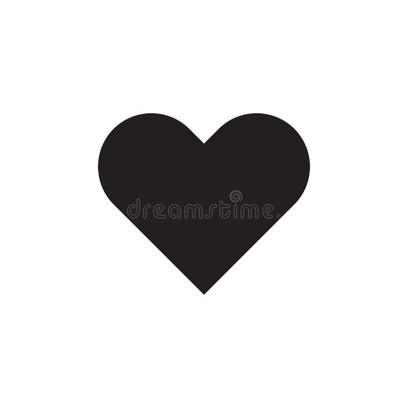 Corazón - icono negro en el ejemplo blanco del vector del fondo para la página web, aplicación móvil, presentación, infographic A stock de ilustración