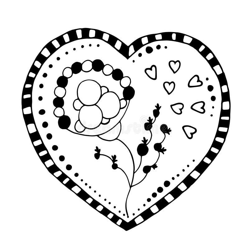 Corazón incompleto del garabato ilustración del vector