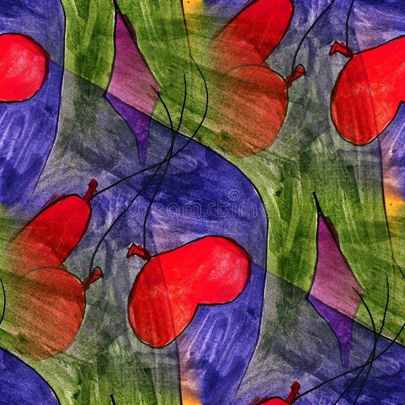 Corazón inconsútil, globo, azul, artista de la acuarela de la luz verde wal libre illustration