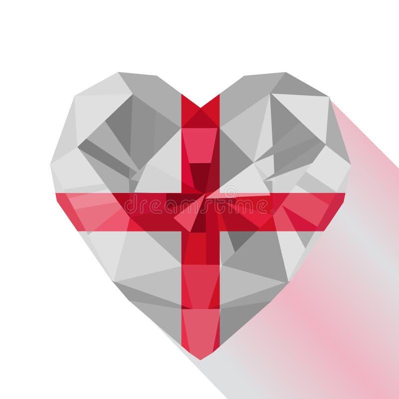 Corazón inglés del vector la bandera de Inglaterra ilustración del vector