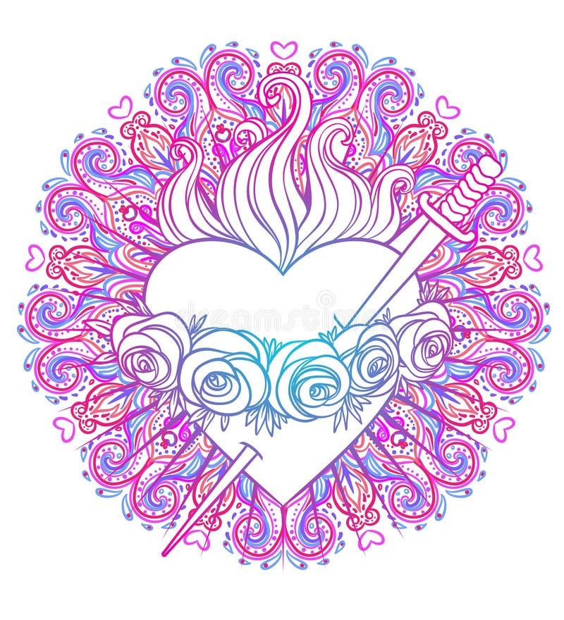 Corazón inmaculado de la Virgen María Blessed, reina del cielo sobre el ro stock de ilustración