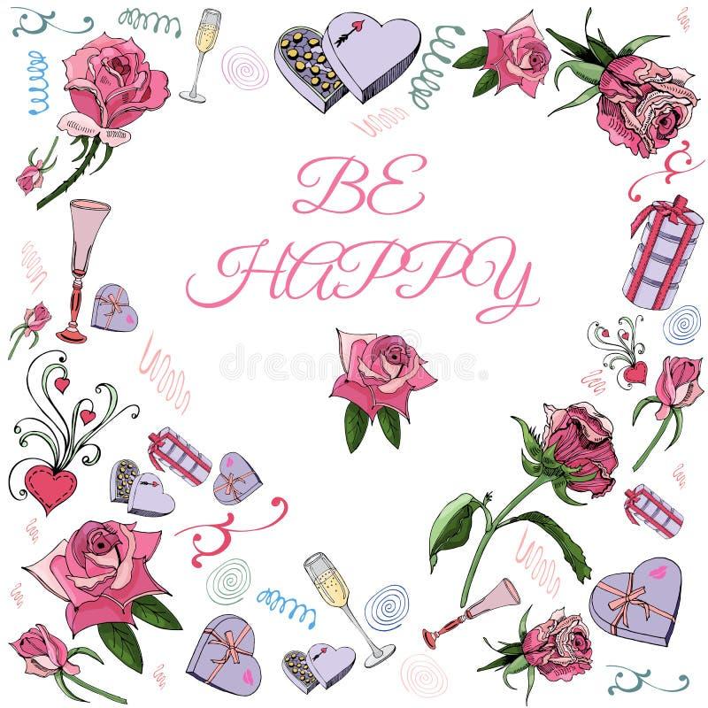 Corazón invertido hecho de flores color de rosa con las hojas, el caramelo y otros diversos elementos Plantilla para la tarjeta y ilustración del vector