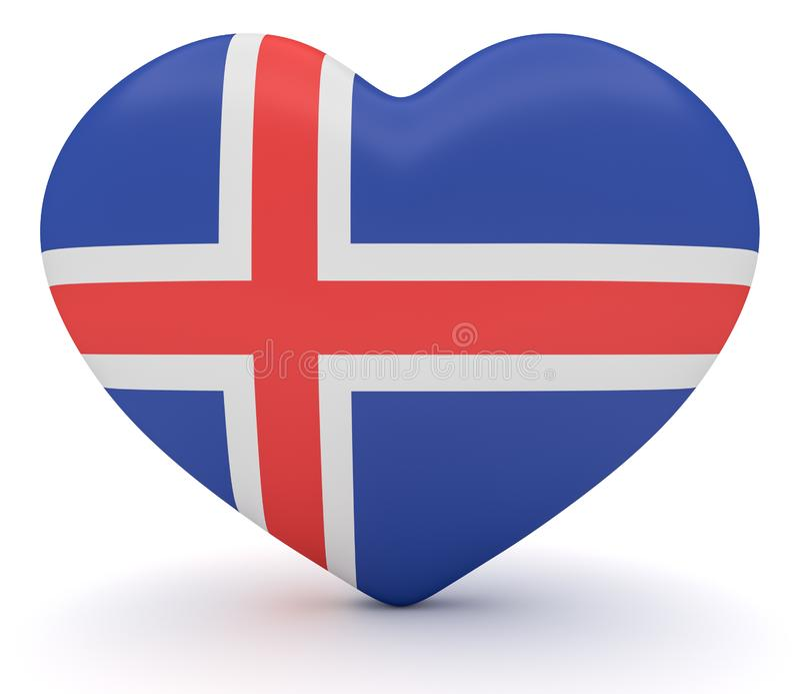 Corazón islandés de la bandera, ejemplo 3d libre illustration
