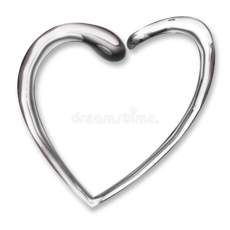 Corazón líquido del cromo ilustración del vector