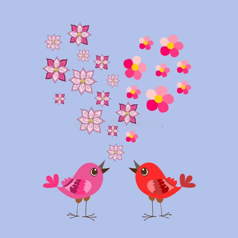 Corazón lindo de los pájaros y de las flores de la historieta Día del `s de la tarjeta del día de San Valentín libre illustration