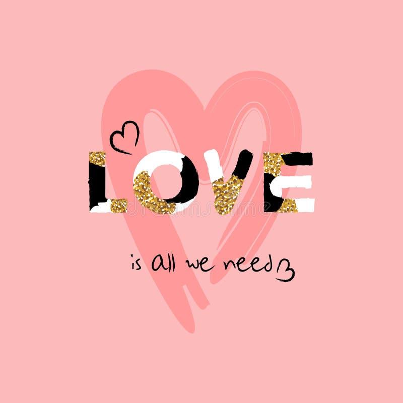 Corazón lindo dibujado mano Fuente creativa única del amor Tarjeta del diseño del día del ` s de la tarjeta del día de San Valent ilustración del vector
