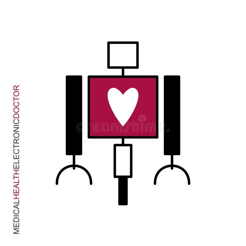 Corazón médico del robot ilustración del vector