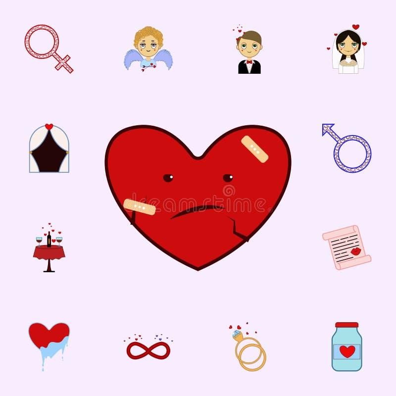 Corazón, malo, rojo, yeso, icono del día de la tarjeta del día de San Valentín s Ame el sistema universal de los iconos para el w stock de ilustración