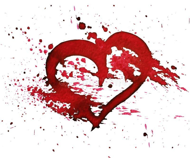 Corazón a mano del rojo del watercolour stock de ilustración