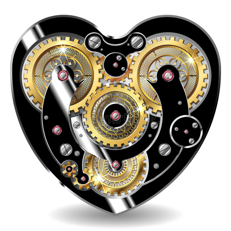 Corazón mecánico de Steampunk stock de ilustración