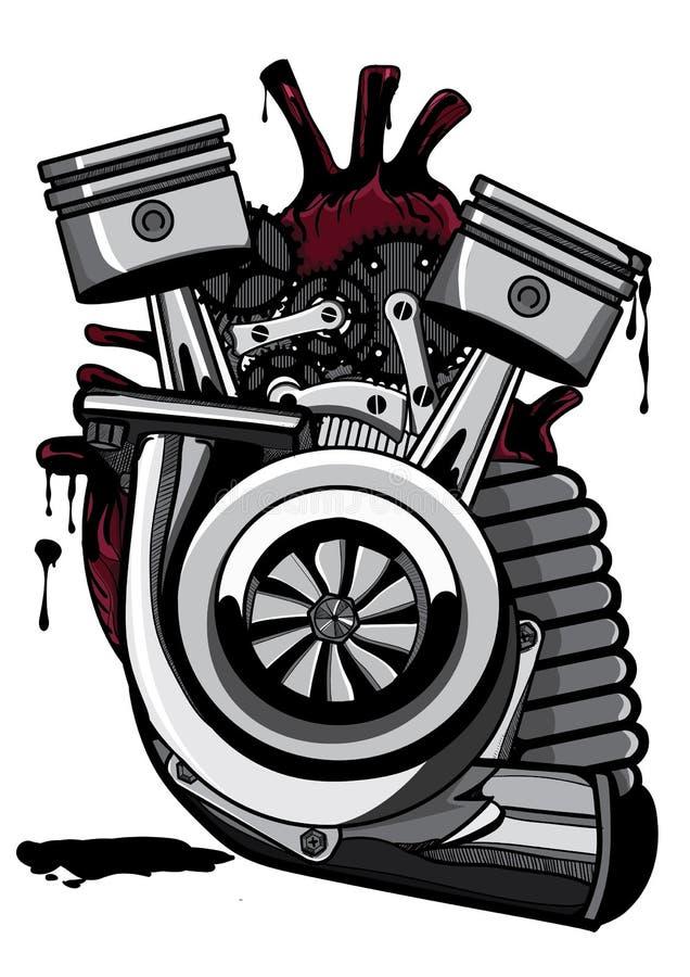 Corazón mecánico | Illustrator dinking + colorante stock de ilustración